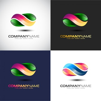Modello di logo 3d infinity astratto per il tuo marchio aziendale