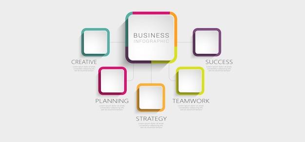 Modello astratto 3d infografica con opzioni per brochure
