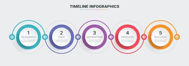 Modello di infografica sottile linea astratta 3d infografica con 5 passaggi.