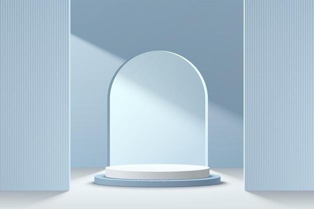 Podio del piedistallo cilindrico astratto 3d azzurro e bianco con finestra ad arco sul muro
