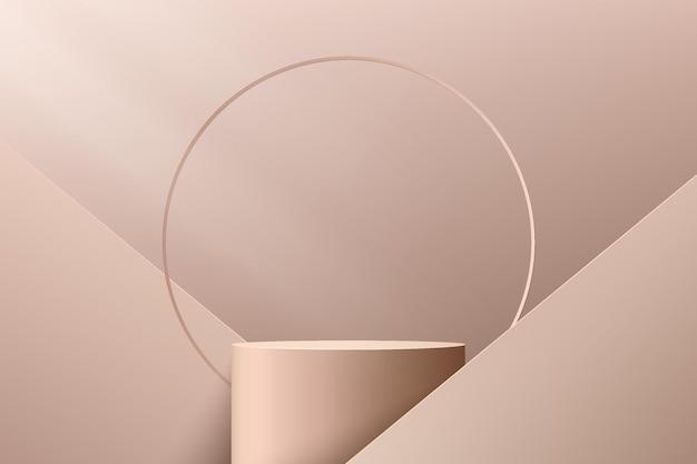 Podio astratto 3d con piedistallo cilindrico marrone chiaro con forma geometrica e sfondo ad anello di lusso