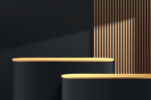 Podio astratto 3d di lusso rotondo nero e oro con piedistallo con strisce verticali dorate e ombre