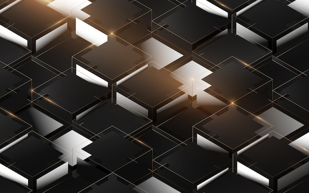 Modello astratto della struttura della scatola di lusso 3d. elegante sfondo geometrico oro, bianco e nero. illustrazione vettoriale