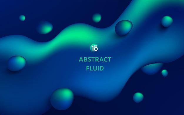Forma liquida fluida astratta di colore verde blu al neon 3d su fondo blu scuro con lo spazio della copia