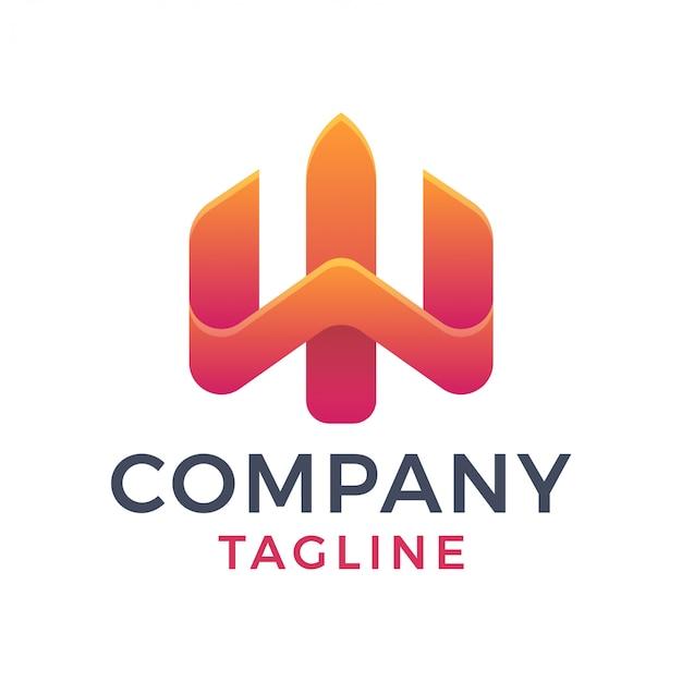 Logo semplice di gradiente della lettera w astratta del tridente 3d