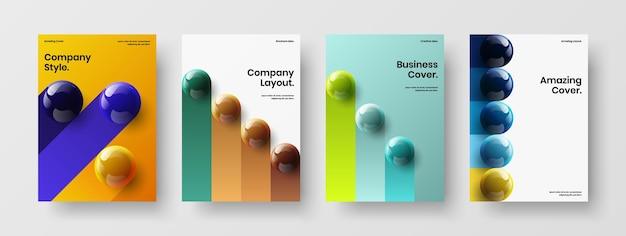 Pacchetto di concetti di copertura aziendale di sfere 3d astratte