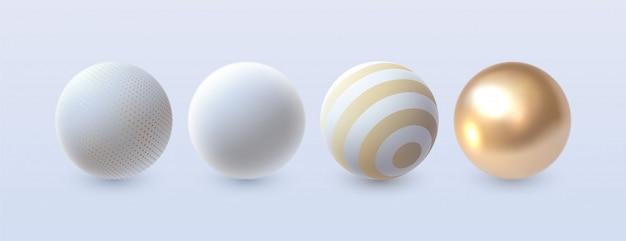 Set di sfere astratte 3d. . elementi di decorazione per il design. forme bianche e dorate