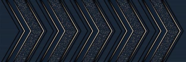 Fondo dell'oro di lusso di stile astratto 3d con struttura del metallo blu scuro