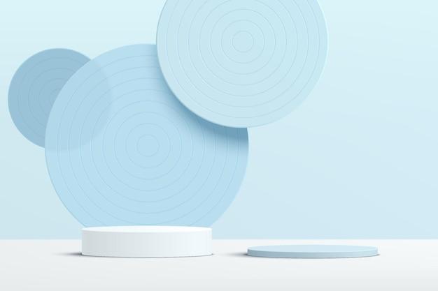 Podio del piedistallo del cilindro blu bianco 3d astratto con il fondale di strati di sovrapposizione di vetro del cerchio blu