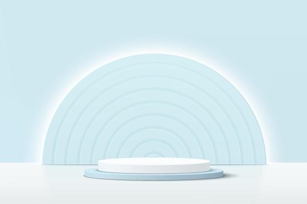 Podio piedistallo cilindrico blu bianco 3d astratto con sfondo semicerchio blu chiaro incandescente