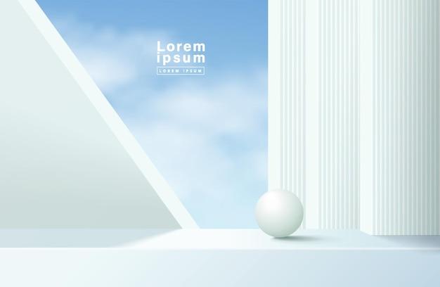 Podio bianco 3d astratto con il fondo del cielo blu. piattaforma geometrica di rendering vettoriale moderno per la presentazione dell'esposizione del prodotto.