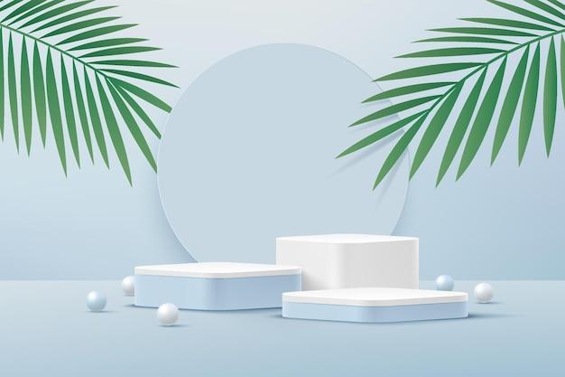 Podio d'angolo rotondo bianco astratto 3d del piedistallo con la sfera blu e bianca della foglia di palma verde