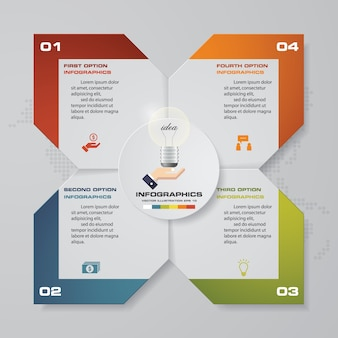 Elementi di infographics del grafico di 4 punti astratti