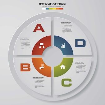 Elementi moderni di infographics del grafico a torta di punti di 4 punti.