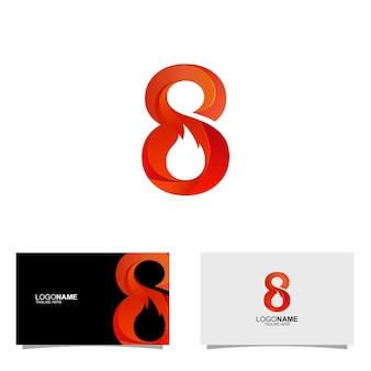 Logo astratto 8 fuoco gradiente