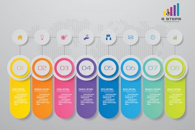 Elemento di infographics grafico astratto 8 passaggi.