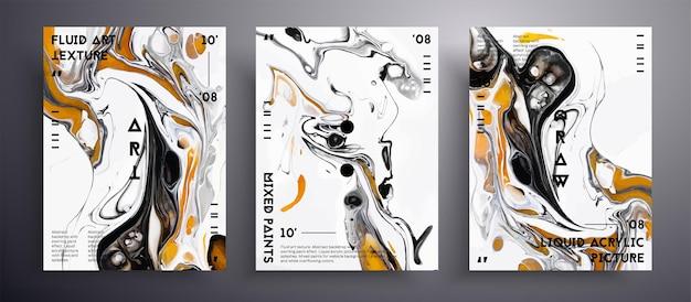Bandiera acrilica astratta, set di texture arte fluida.