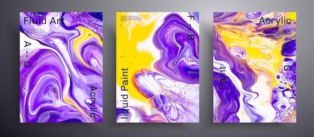 Modello di pacchetto di texture fluida poster acrilico astratto.