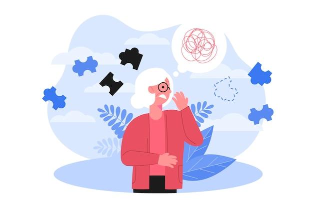 Illustrazione astratta di concetto di alzheimer Vettore Premium