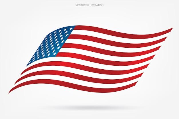 Bandiera americana astratta su priorità bassa bianca.
