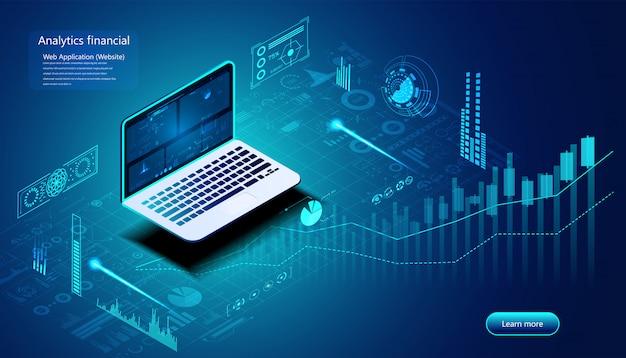 Concetto finanziario di analisi astratta analisi stock per investimenti, finanza,