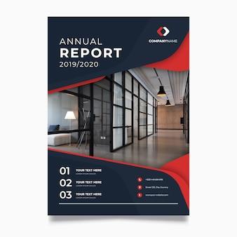 Modello astratto del rapporto annuale con la foto Vettore Premium