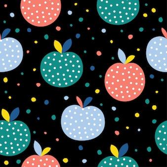 Fondo senza cuciture astratto della mela. artigianato infantile fatto a mano per biglietti di design, menu bar, carta da parati, album regalo estivo, album di ritagli, carta da regalo per le vacanze, pannolini per bambini, stampa di borse, t-shirt ecc.