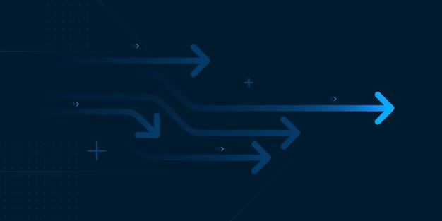 Freccia astratta direzione illustrazione design piatto copia spazio business leader concetto di velocità