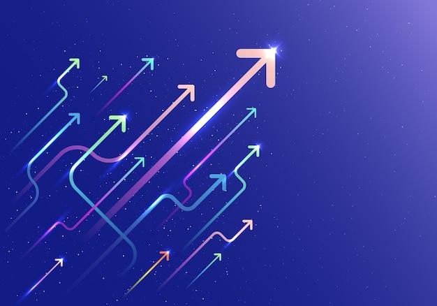 Gruppo freccia astratta che sale movimento con movimento di illuminazione su sfondo blu. concetto di crescita aziendale. illustrazione vettoriale