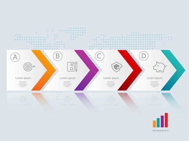 Modello di elemento di presentazione infografica orizzontale freccia astratta con icone di affari 4 passaggi