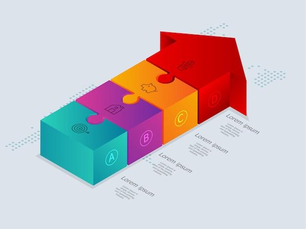 Infografica timeline isometrica freccia astratta 4 passaggi con mappa del mondo per il business