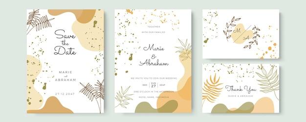 Vettore del fondo di arte astratta. sfondo di carta di invito di lusso con fiori d'arte linea dorata e foglie botaniche, forme organiche