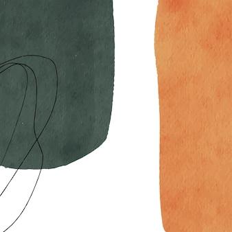 Fondo minimalista di arte astratta con la macchia verde e arancione dell'acquerello e la linea di scarabocchio