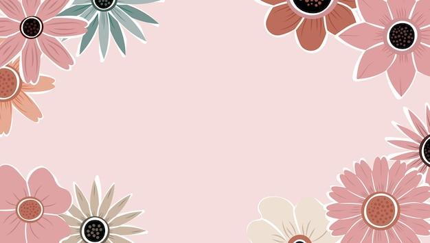 Vettore del fondo della natura di arte astratta. cornice di piante alla moda. design fiori di colore di sfondo, bellissimo giardino decorativo. foglie botaniche e motivo floreale per banner di vendita estiva.