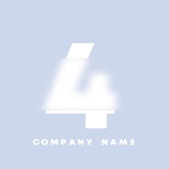 Logo di numeri 4 di arte astratta. glassmorfismo. carattere in stile sfocato, design tipografico, lettere e numeri dell'alfabeto. design del carattere sfocato, alfabeto in stile focalizzato e sfocato. illustrazione vettoriale