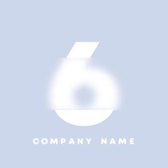 Logo di numeri 6 di arte astratta. glassmorfismo. carattere in stile sfocato, design tipografico, lettere e numeri dell'alfabeto. design del carattere sfocato, alfabeto in stile focalizzato e sfocato. illustrazione vettoriale