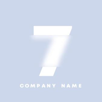 Logo di numeri 7 di arte astratta. glassmorfismo. carattere in stile sfocato, design tipografico, lettere e numeri dell'alfabeto. design del carattere sfocato, alfabeto in stile focalizzato e sfocato. illustrazione vettoriale