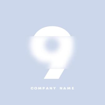Logo di numeri 9 di arte astratta. glassmorfismo. carattere in stile sfocato, design tipografico, lettere e numeri dell'alfabeto. design del carattere sfocato, alfabeto in stile focalizzato e sfocato. vettore