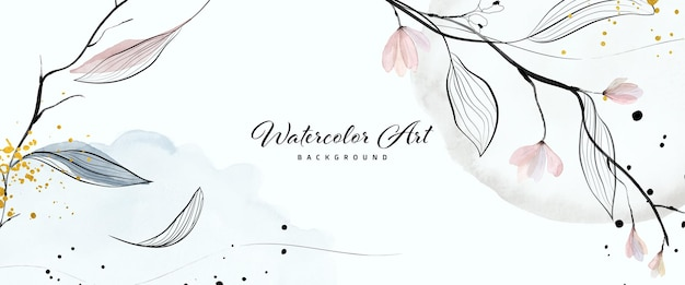 Foglie di fiori delicati dell'acquerello di arte astratta e gocce d'oro per lo sfondo della bandiera della natura. disegno ad acquerello adatto per l'uso come intestazione, web, decorazione murale. pennello incluso nel file.