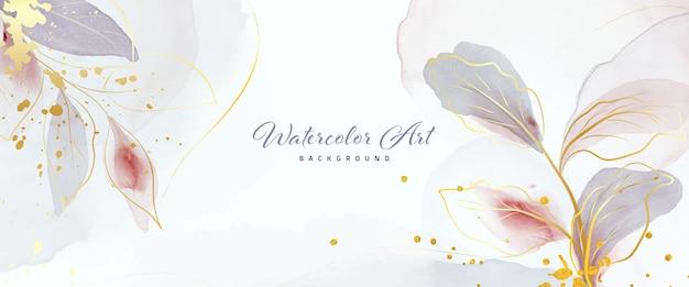 Foglie d'oro delicate dell'acquerello di arte astratta e spruzzi d'oro per lo sfondo della bandiera della natura. disegno ad acquerello adatto per l'uso come intestazione, web, decorazione murale. pennello incluso nel file.