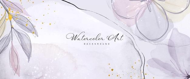 Arte astratta acquerello fiore viola botanica e glitter oro per sfondo banner natura. disegno ad acquerello adatto per l'uso come intestazione, web, decorazione murale. pennello incluso nel file.