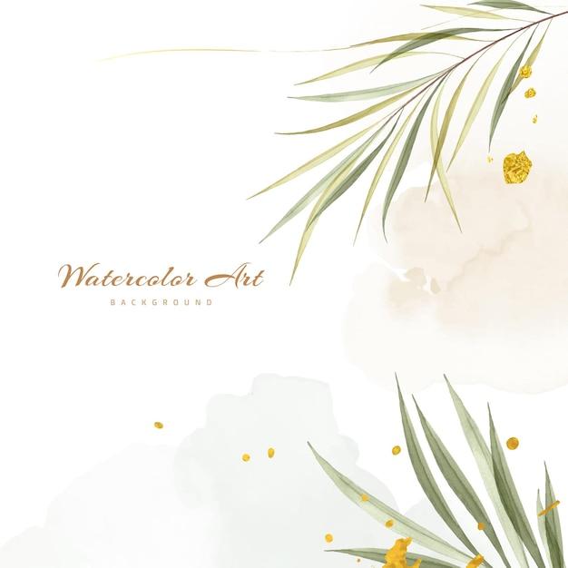 Acquerello di arte astratta con foglie verdi decorative gocce d'oro per lo sfondo della natura. disegno ad acquerello adatto per l'uso come sfondo quadrato, decorazione murale.