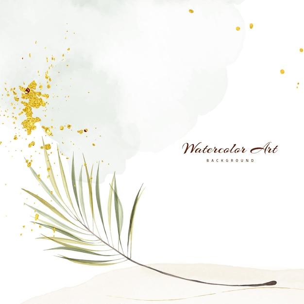 Acquerello di arte astratta con foglie verdi decorative gocce d'oro per sfondo banner natura. design artistico adatto per l'uso come intestazione, web, decorazione murale. pennello acquerello texture incluso nel file.