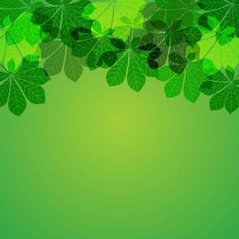 Foglie di autunno astratte su sfondo verde. illustrazione