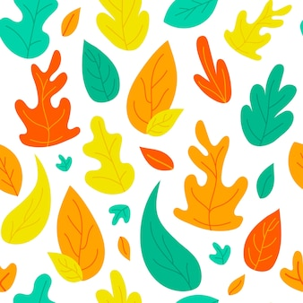 Abstract foglie di autunno seamless pattern sfondo doodle texture stampa