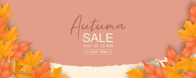 Bandiera astratta di vendita di autunno sul fondo delle foglie di autunno