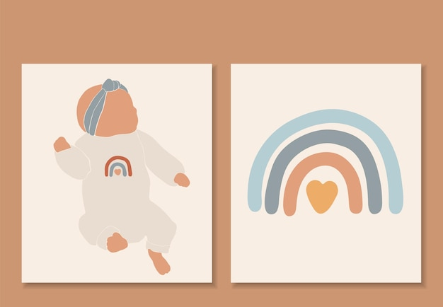 Vettore isolato bambino astratto, stampa boho arcobaleno