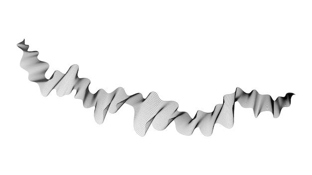 Contesto astratto con le linee di pendenza dell'onda monocromatiche su priorità bassa bianca. sfondo di tecnologia moderna, design a onde. illustrazione vettoriale