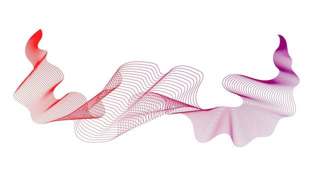 Contesto astratto con le linee di gradiente dell'onda rossa su fondo bianco. sfondo di tecnologia moderna, design a onde. illustrazione vettoriale