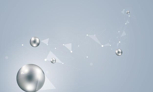 Atomi di sfondo astratto per la tecnologia di progettazione e scienza della rete
